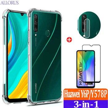 Перейти на Алиэкспресс и купить Силиконовый чехол Huawei Y6P Case hyawei Y6P Y5P Y8P чехол для телефона+камера+стекло,Мягкий противоударный защитный чехол подушки безопасности Huawei Y6S Y5 ...