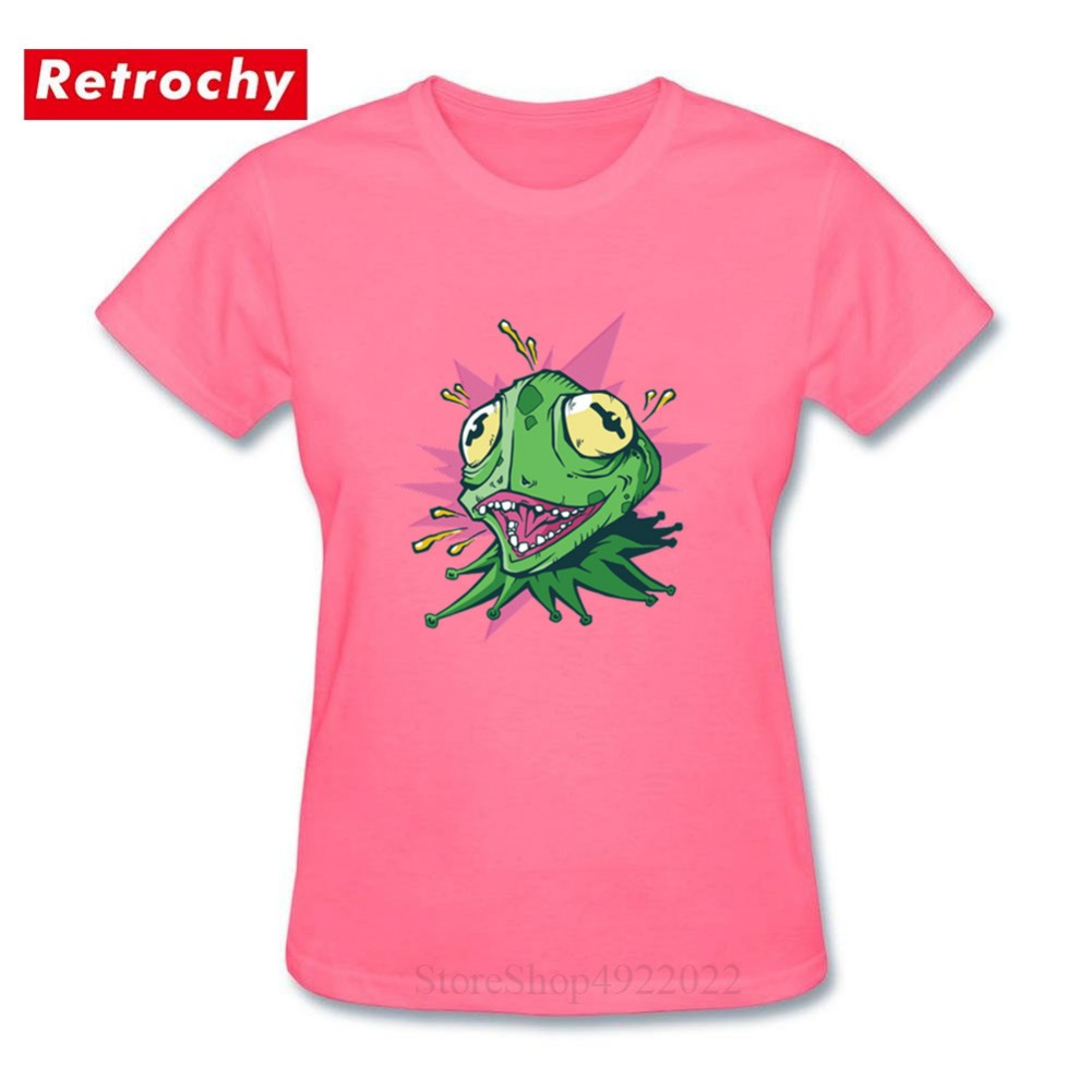 CRAZY GREEN LIZARD T-shirts Women Funny Cartoon Chameleon Tshirt For Girls High Quality Iguana Black Tees Shirt Femme Gecko Tops