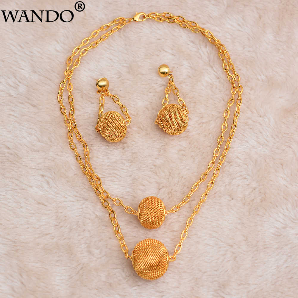 WANDO Gold Color Bead jewelry set Nigeria women jewelry Gold Color Classic Ethiopian/Middle East /African women jewelry