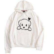 цена на Puppy Print Hoodie High Quality Soft Cotton Long Sleeve Hoodie Women's Casual Pocket hoodie Large Size