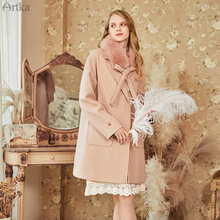 ARTKA 2019 Winter New Women Woolen Coat Vintage Elegant Detachable Fox Fur Collar Woolen Coat Loose Pink Woolen Outwear FA15282D cheap Polyester Viscose long Wide-waisted Pockets Wool Blends Solid Covered Button Regular Turn-down Collar Full