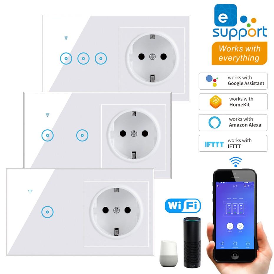 EU Standard Smart Licht Schalter Panel Wand 1/2/3 Gang wifi Licht Schalter 90V-240V AC WiFi EU buchse Arbeit mit Alexa Google Hause