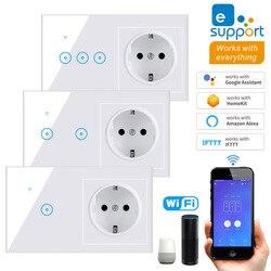Умный настенный светильник, стандарт ЕС, 1/2/3 Gang, Wi-Fi, 90-240 В, AC, Wi-Fi, европейская розетка, работает с Alexa Google Home