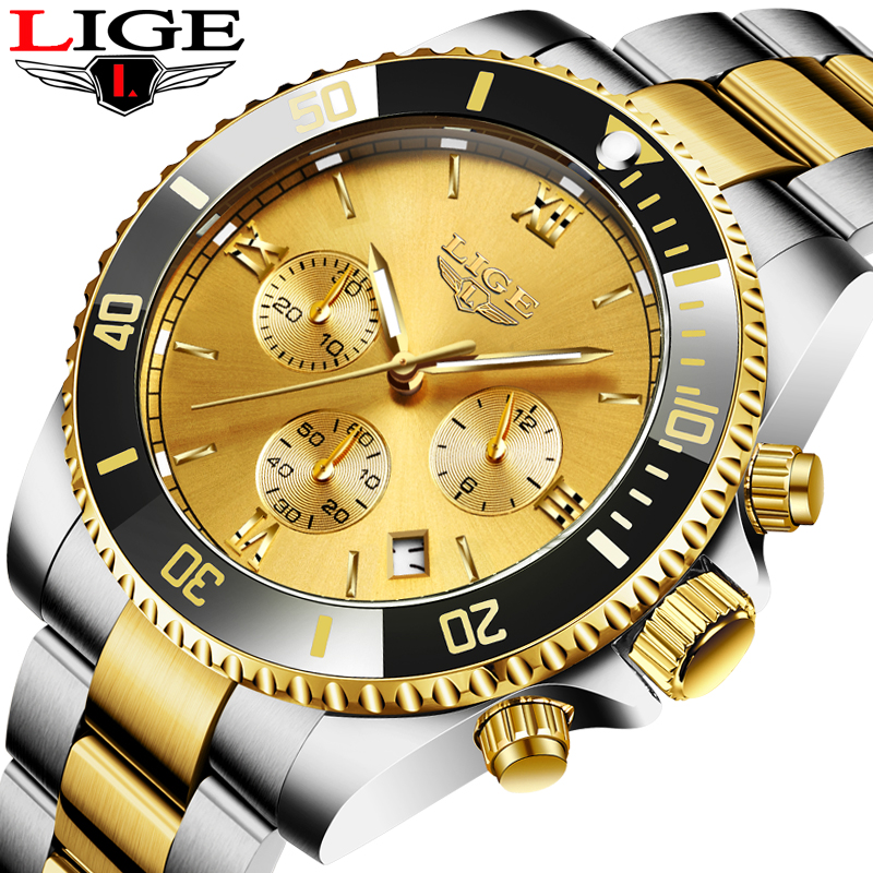 Top LIGE Brand Luxury Men Watch Fashion Stainless Steel Waterproof Watches For Men Casual Business Clocks Relojes Hombre 2020 1