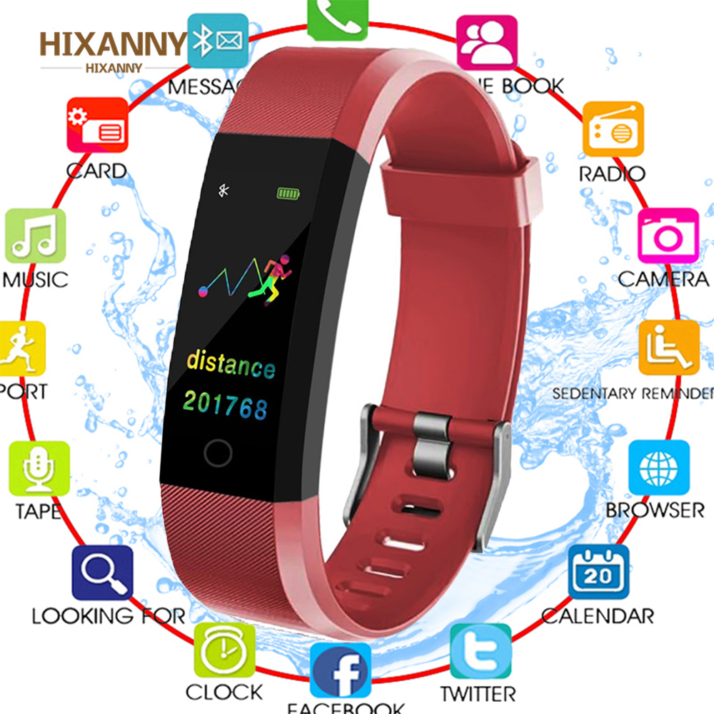 Bluetooth ID115 Plus Smart Bracelet Color Display Waterproof Band Sport Fitness Tracker Heart Rate Monitor Wristband
