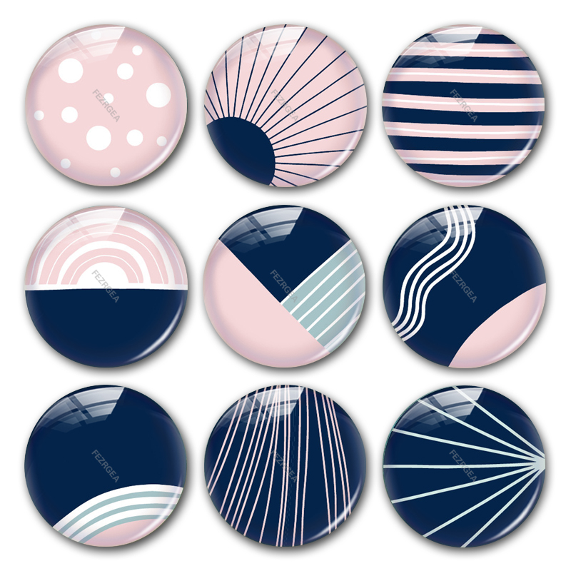 Geometric Pattern Glass Cabochon,blue And Pink Digital Images Hand Made Round Photo Cabochons Demo Flat Back Making Findings