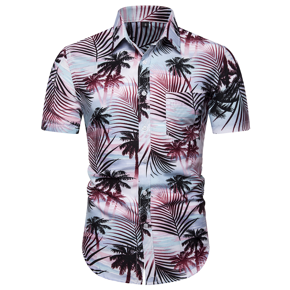 Apparel, Summer 2009 Trade Coat, Multipurpose Fashion, Coconut Tree Printed Square Necklace, Men's Sleeve Short-sleeved Shirt