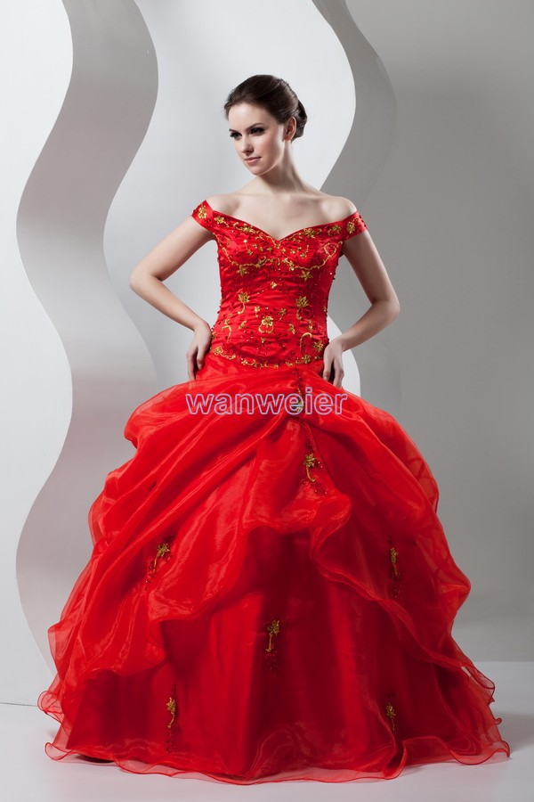 Free Shipping New Design Hot Seller Custom Size/color Organza Cap Sleeve Embroidery Bridal Ball Gown Chinese Red Wedding Dress