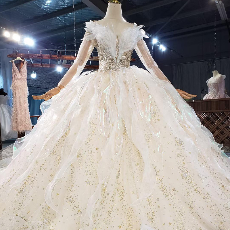 HTL1837 Luxurious Sequined Beading Wedding Dress 2020 V-Neck Three Quarters Sleeve Applique Ball Gowns Crystal 2