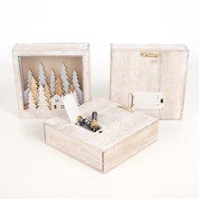 Decoración de Navidad adornos de Navidad lámpara de madera pequeña caja cuadrada decoración navideña para ventanas Decoración