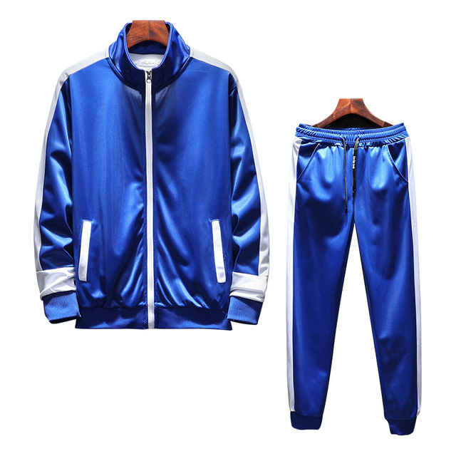 Men Set Casual 2018 Autumn New Tracksuit Male Zipper Sweatshirt + Pants Two Pieces Sets Men's Solid Patchwork Sportswear Suits