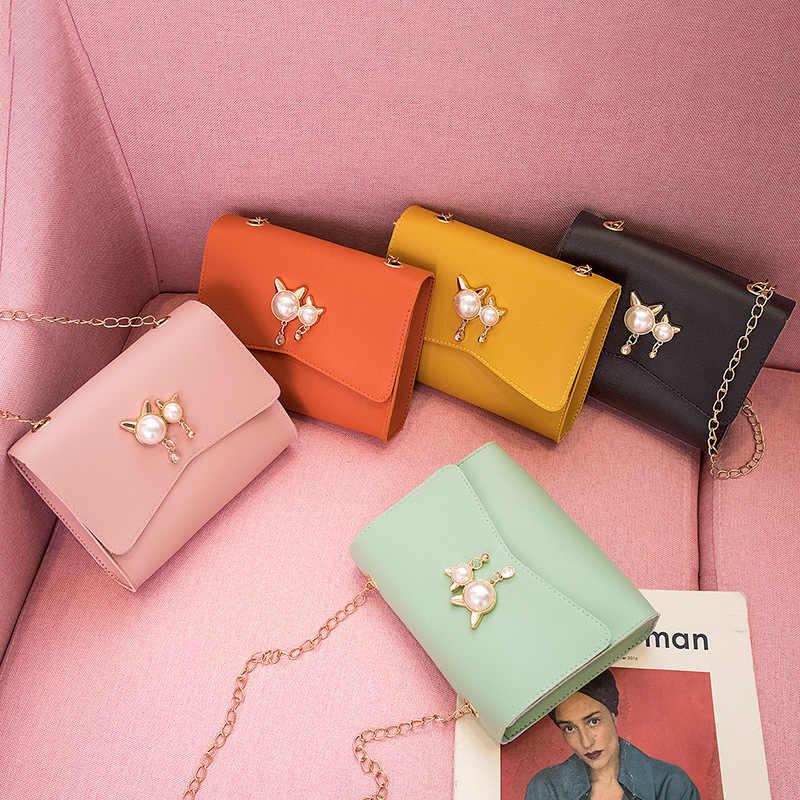 Kontrast renk zinciri omuzdan askili çanta omuz Mini cep telefonu değişimi kadin çanta sevimli kedi kulak inci kolye kare tek kollu çanta