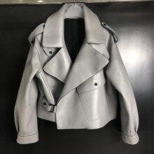 Женская куртка из натуральной овчины, Осень-зима, мотоциклетные пуговицы для верхней одежды, черный, красный, серый, плюс размер XXXL