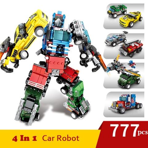 777 pcs 4 em 1 transformacao bloco de construcao do carro conjunto grandes marcas criador