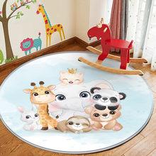 Alfombra Children Comfortable Carpet Non-Slip Children Flannel Round Cartoon Animal Carpet Baby Hand Print Carpet Baby Play Mat