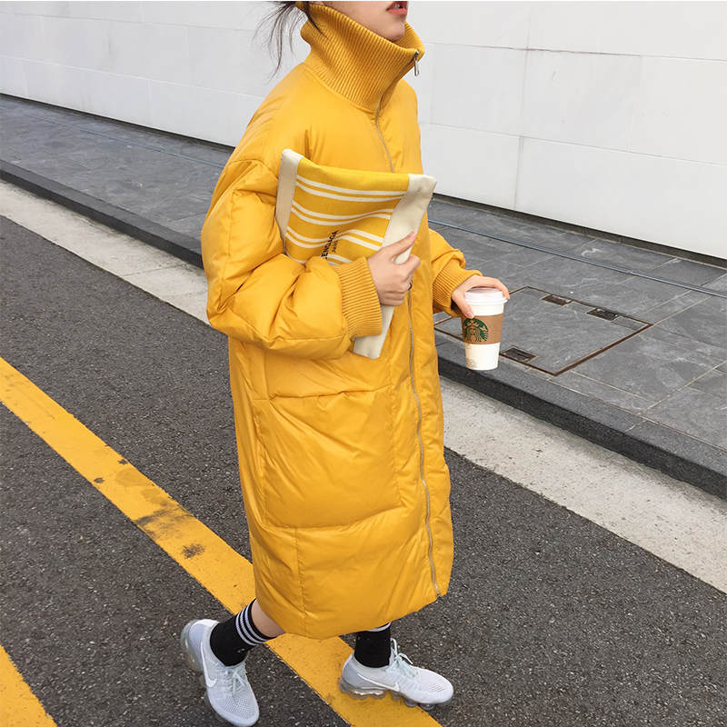New Oversized Coat Women Yellow Turtleneck Long Autumn Winter Jacket Women Thicken Parkas Mujer Down Cotton Jacket Female C5754