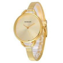 Womage Watches Womens Luxury Gold Women Fashion Mesh Band Quartz Bracelet Woman Watch reloj mujer