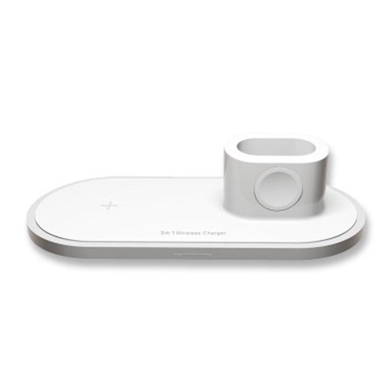 Cargador inalámbrico, soporte rápido 3 en 1 para auriculares de reloj de teléfono móvil para IPhone Xs Max/XR/8 Plus/Samsung S10 S9, carga inalámbrica
