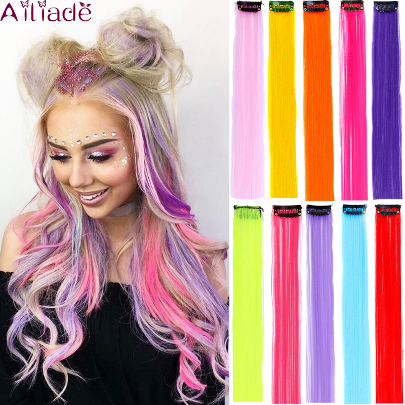 "AILIADE 22"" Clip-In One Piece For Hair Extensions Ombre Rainbow Long Straight Synthetic Fake Hair Pieces Clip In 2 Tone Hair"
