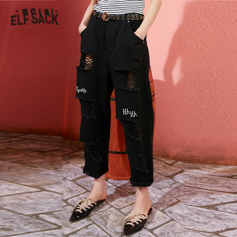 ELFSACK Red Solid Letter Embroidery Ripped Casual Jeans Woman 2020 Spring Black Straight Korean Ladies Daily Ankle Length Pants