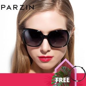 Image 1 - PARZIN Brand Designer Big Frame Sunglasses Shades For Women Fashion Oval Frame Real Quality Female Polarized Sunglasses
