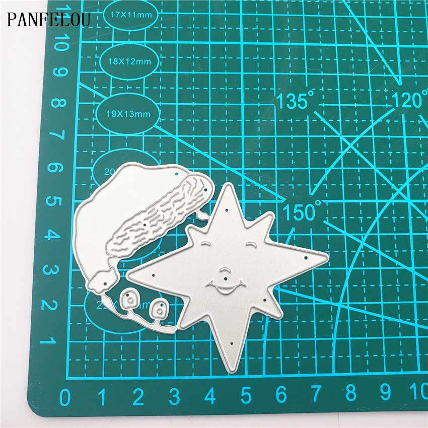 7.5x6.3cm חג המולד שנה טובה סנטה כובע כוכב פחמן פלדה חותך נייר למות חיתוך מת רעיונות/ DIY הבלטות כרטיסי
