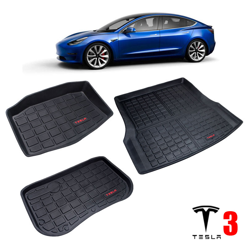 TPO Rubber Trunk Mats For Tesla Model 3 2017 2018 2019 2020 CAR Accessories Front Trunk Floor Mats Storage Mats Rear Cargo Tray