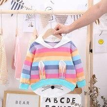 Baby Sweatshirt Toddler Kids Girls Striped Rainbow Cartoon Hooded Coat Tops Cute Girl Sweatshirts Hoody