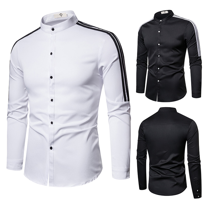 Men Shirts 2020 New Splicing Slim Solid Color Stand-up Collar Plus-size Men's Long-sleeved  Mens Dress Shirts
