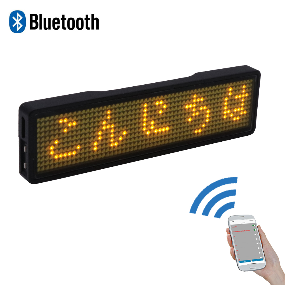 Programmable Mini LED Display Scrolling LED Badge 11*55 Wide LED Name Tag Advertising LED Message Sign Movable LED Name Card