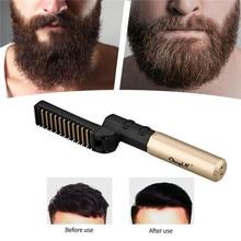Foldable Men's Beard Straightening Comb Cordless Vibration Hair Straightener Iron Electric