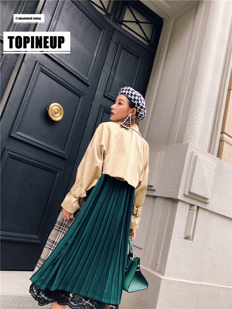 2019 Plaid Contrast Color Back Green Pleated Chiffon Patchwork Overcoat New Fashion Female's   Trench   For Women Long Coat Vestido