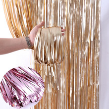 2M 3M Gold Metallic Foil Fringe Wedding Backdrop Stand Birthday Party Wall Decorations Mariage Door Curtains Swag Matte Drapes