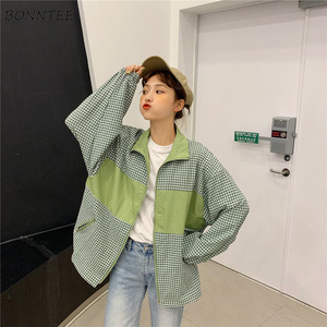 Image 4 - แจ็คเก็ตสตรีลายสก๊อต BF เกาหลี Harajuku Ulzzang สไตล์ลำลองสตรีเสื้อแจ็คเก็ตพื้นฐาน All Match คุณภาพสูงหลวมอินเทรนด์