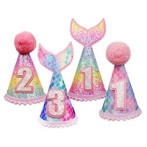 1Pc dla dzieci 1 2 3 czapki urodzinowe syrenka korona 1st czapka urodzinowa noworodka urodziny dziecka z pałąkiem na głowę 1 rok dekoracja urodzinowa