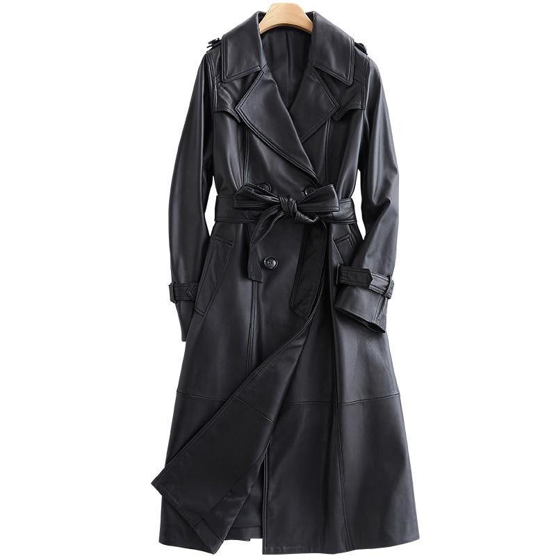 Lautaro Long black leather trench coat for women long sleeve belt lapel Women fashion 2020 Luxury spring plus size outerwear 7xl Leather Jackets  - AliExpress