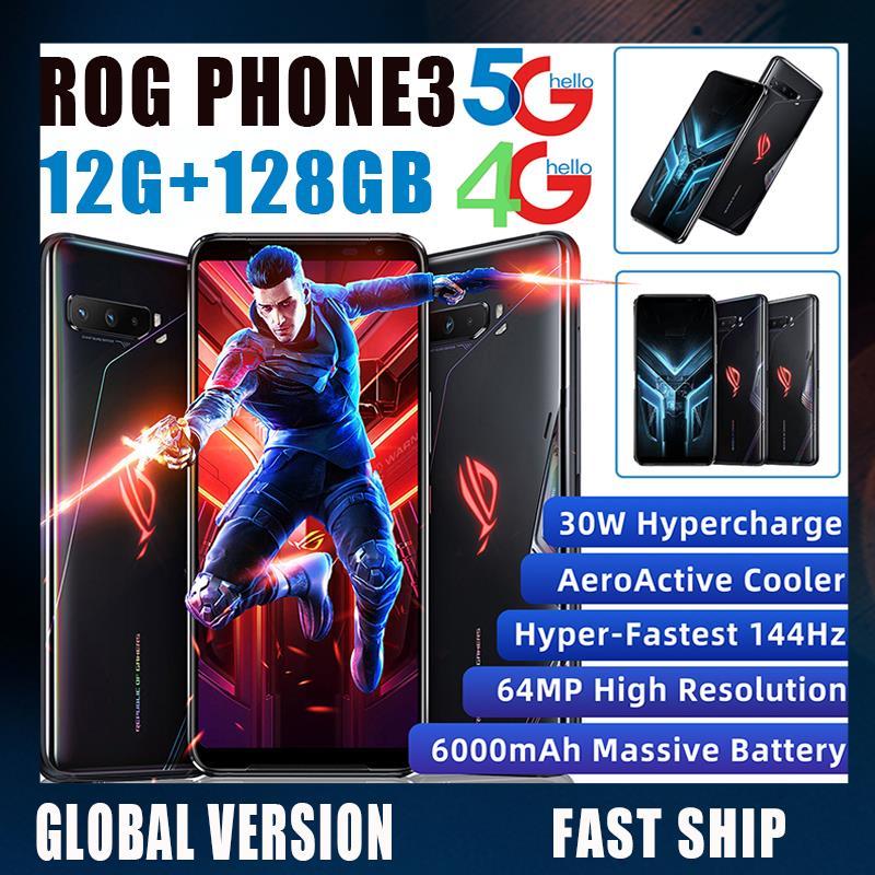 Juego teléfono ASUS ROG teléfono 3 versión Global 12G 128G SD 865 más 6000mAh batería de la batería NFC Android 10 144Hz 4G 5G 5 ROG3 refrigerador Smartphone
