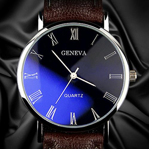 Men Watch Montre Band Quartz Business Faux-Leather Analog Numerals Homme Blu-Ray