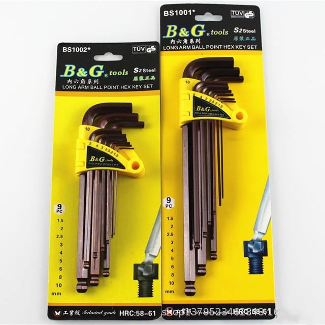 9 sztuk 1.5mm-10mm imbusowy sześciokątny klucz imbusowy zestaw narzędzi imbus matowy Chrome Ball koniec zestaw kluczy zestaw wkrętaków zestaw narzędzi