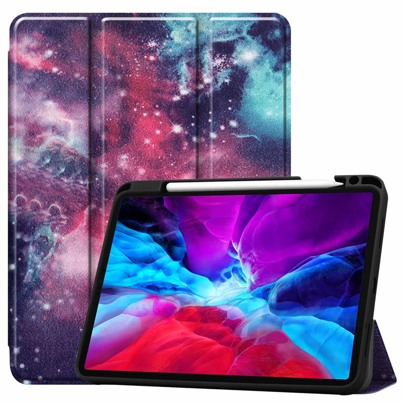 Galaxy Beige Painted Case For iPad Pro 12 9 Case 2020 PU Leather TPU Back Stand Smart Cover