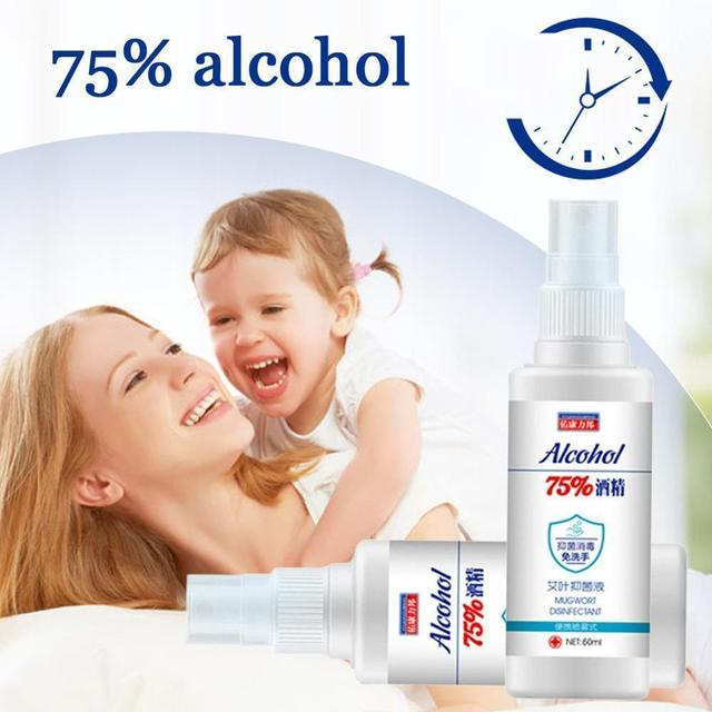 60ml 75% Disinfection Alcohol Carry-on Disposable Hand Alcohol Disinfection Spray Bottled Prevention Rine-free Hand Sanitizer 4