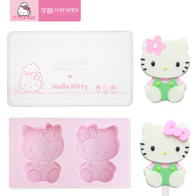 kitty cake Hello Kitty Kawaii Home-made Cartoon Silicone Ice Lolly Popsicle Ice Cream Cake Baking Mold 3D Handmade Soap Mold Contains Lid