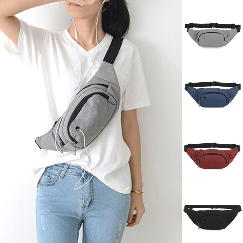 Women Travel Sport Bum Bag Fanny Pack Men Waist Money Belt ZipHeadphone Plug  Pouch Wallet