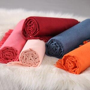 Image 4 - Индивидуальный однотонный шарф с кисточками для женщин, кашемировая зимняя шаль с вышивкой на заказ для женщин и девушек, шарф, массивный подарок