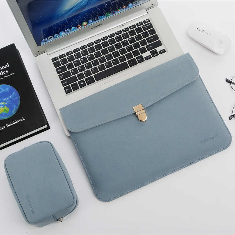 Wodoodporna skórzana torba na laptopa 14 cali z zasilaczem do Xiaomi MI 12.5 Apple Mac book Air 13 torba Pro 15 Touch Bar Case