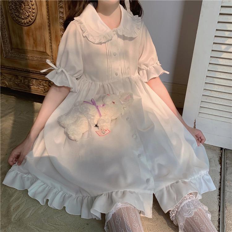 Милые японские платья в стиле Лолиты для девочек, милые однотонные элегантные платья в стиле ретро с рукавами-фонариками и воротником в сти...