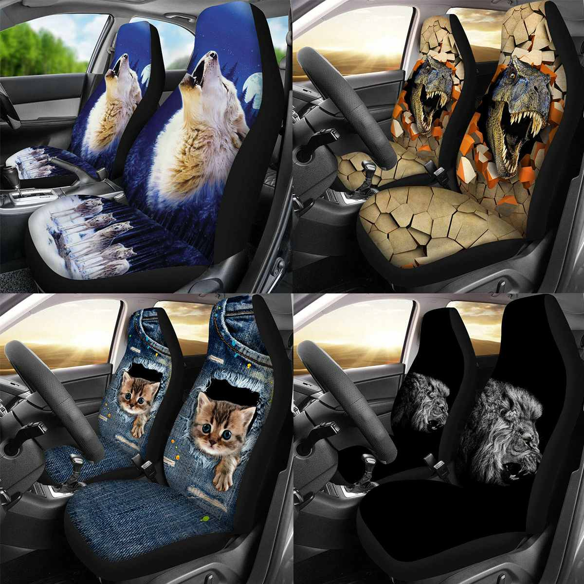 3D בעלי החיים זאב הדפסת אוניברסלי רכב מושב מכסה רכב סטיילינג אוטומטי מושב כיסוי מכונית מושב מלא כיסוי מגן אביזרי פנים