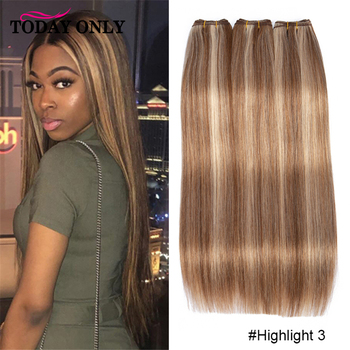 Straight Hair Bundles Brown Peruvian 1/3/4 Human Hair 30 inch Bundles Honey Blonde Highlight Hair Color Extensions 8-28 Remy image