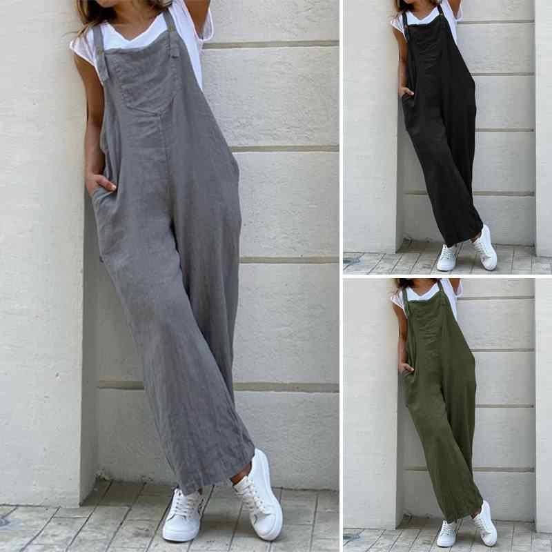 2020 VINTAGE ขากว้างกางเกง Playsuits ZANZEA ผู้หญิง Suspender Jumpsuits Rompers สตรี Overalls กระเป๋ายาว Combinaison
