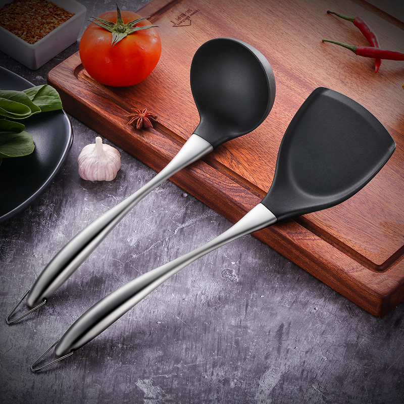 304 Stainless Steel Silicone Spatula Soup Spoon Cooking Non-stick Pan Home Kitchen Cooking Tools